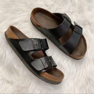 Birkenstock Arizona two strap black sandals size 8